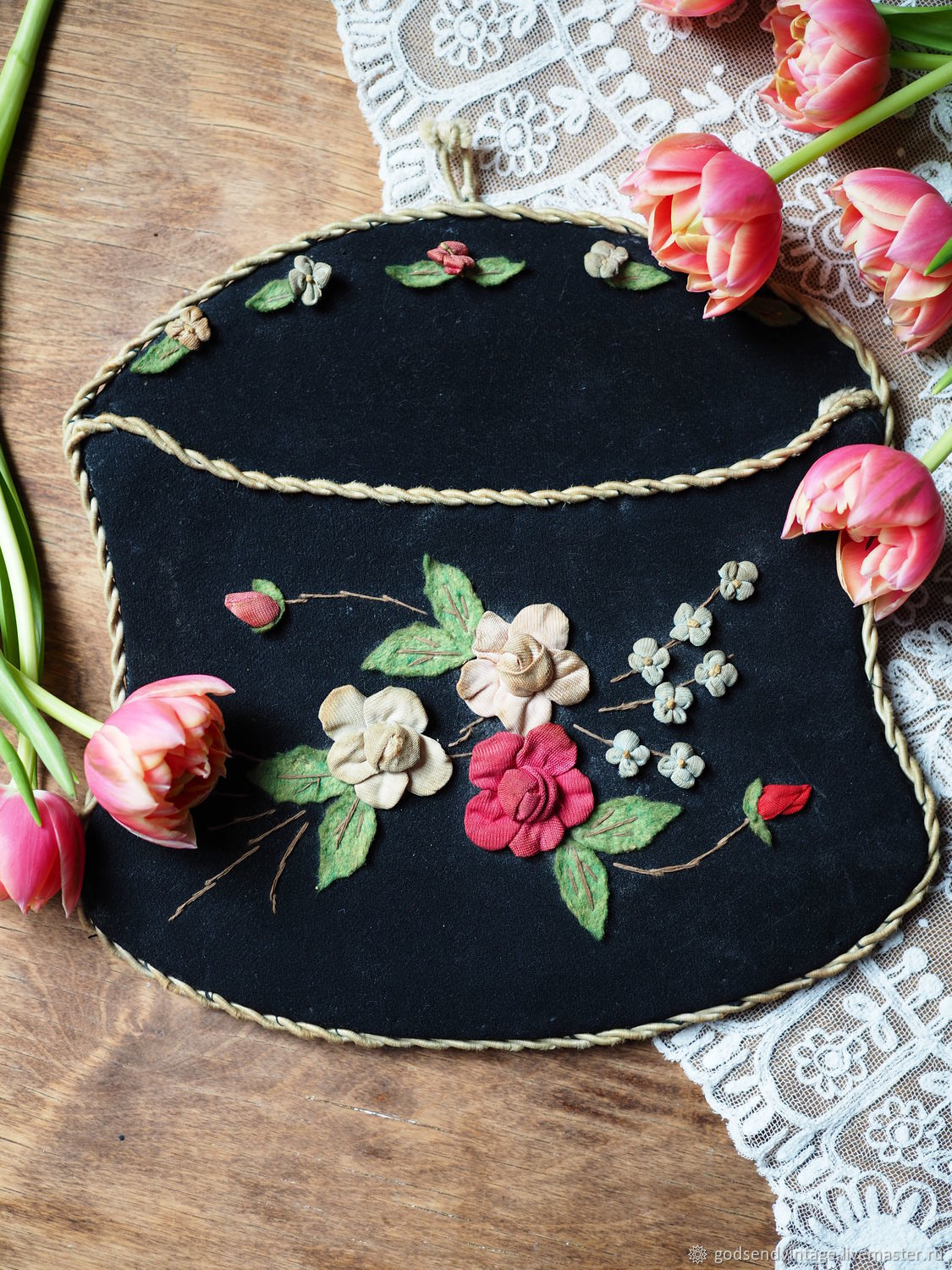 Antique velvet envelope for letters and papers, Vintage interior, St. Petersburg,  Фото №1