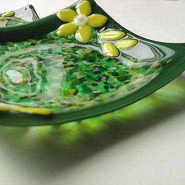 """Посуда ручной работы. Ярмарка Мастеров - ручная работа Набор тарелок """"Зелёная лужайка"""". Handmade."""