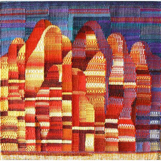 Абстракция ручной работы. Ярмарка Мастеров - ручная работа. Купить Панно Восточный мотив в технике гобелен шерсть/акрил. Handmade.