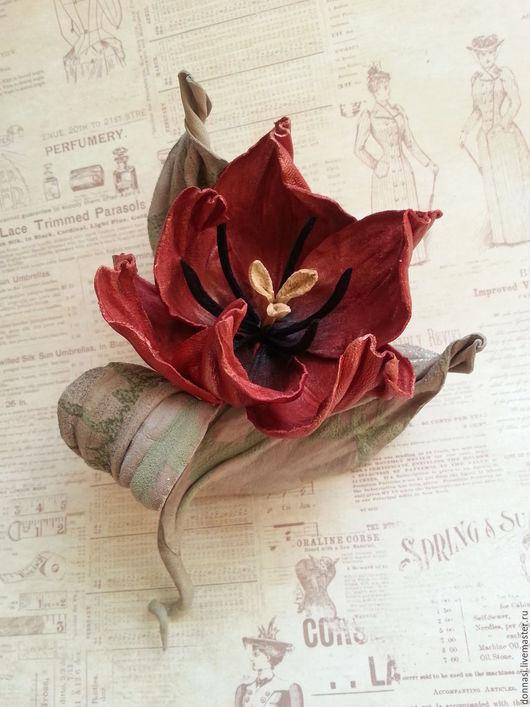 """Броши ручной работы. Ярмарка Мастеров - ручная работа. Купить Цветы из кожи. Тюльпан  """"Танго"""". Handmade. Ярко-красный"""