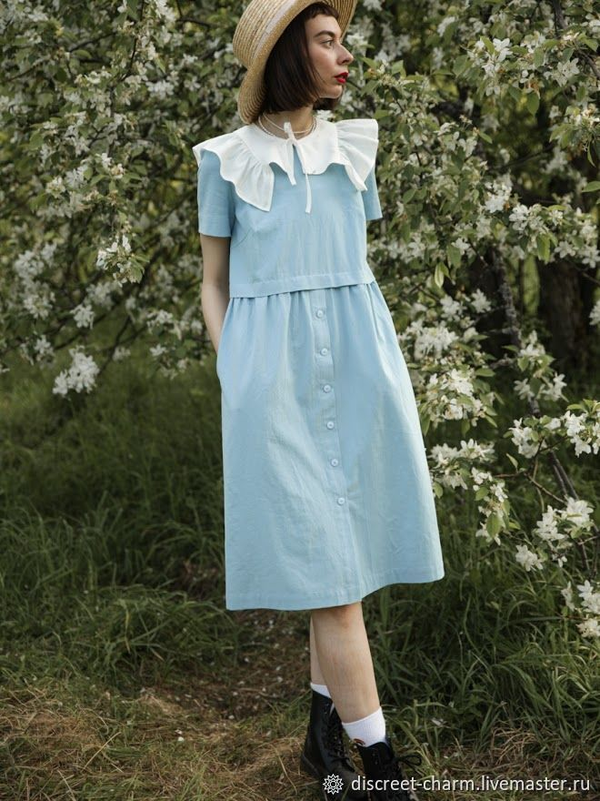 Голубое романтичное платье из хлопка, летнее, с коротким рукавом, Платья, Томск,  Фото №1