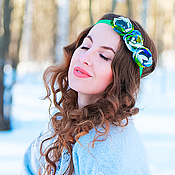 """Украшения ручной работы. Ярмарка Мастеров - ручная работа Повязка на голову с мелкими цветами зеленая """"Весна"""". Handmade."""
