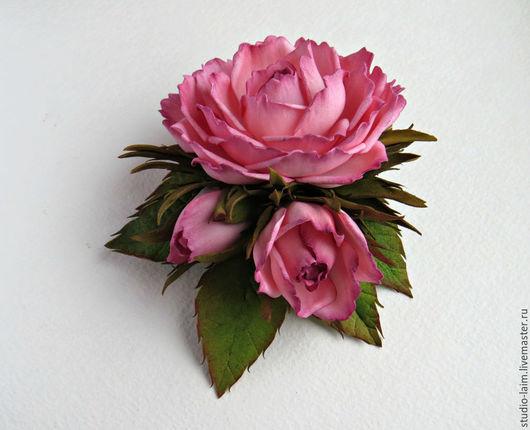 Заколки ручной работы. Ярмарка Мастеров - ручная работа. Купить Заколка для волос с розами Розовая дымка 12 см. Handmade.