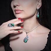 Украшения handmade. Livemaster - original item Adaya jewelry set with malachite in 925 sterling silver HH0016. Handmade.