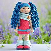 Куклы и пупсы ручной работы. Ярмарка Мастеров - ручная работа Вязаная кукла с голубыми волосами. Handmade.