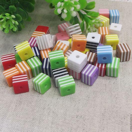 Для украшений ручной работы. Ярмарка Мастеров - ручная работа. Купить Бусины- кубики полосатые  8мм (19 цветов). Handmade.
