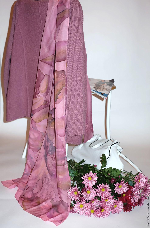 Scarf in powdery pastel tones batik pure silk scarf, Wraps, Moscow,  Фото №1