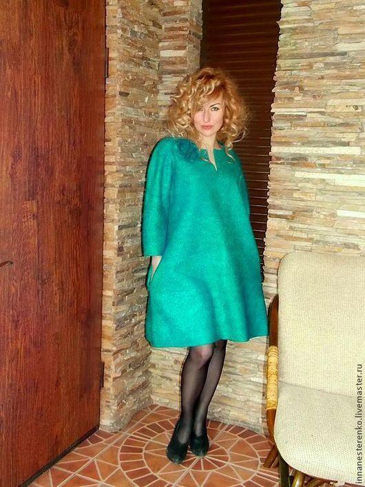 платье теплое, войлок, ручная работа, авторский войлок, изумруд, морская волна