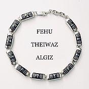 Украшения handmade. Livemaster - original item Bracelet with the runes Fehu, Teyvaz, Algiz (silver). Handmade.