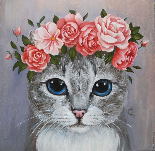 Животные ручной работы. Ярмарка Мастеров - ручная работа. Купить портрет серой кошки. Handmade. Серый, кошка, кот, цветы