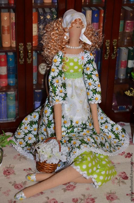 Куклы Тильды ручной работы. Ярмарка Мастеров - ручная работа. Купить Тильда,,Ромашковая Дашка,,. Handmade. Ярко-зелёный, хлопок