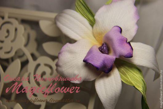 Заколки ручной работы. Ярмарка Мастеров - ручная работа. Купить Заколка, зажим Орхидея Каттлея. Цветы из шелка. Handmade. Белый