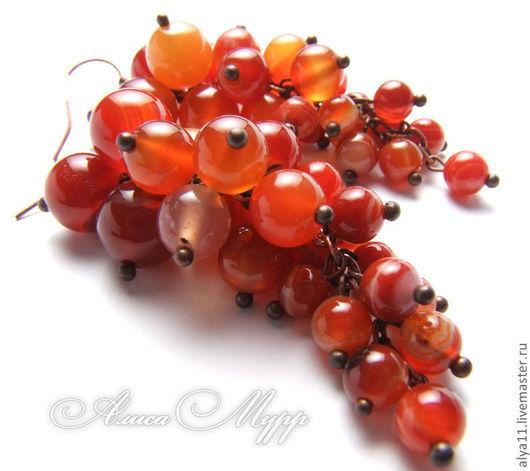 """Серьги ручной работы. Ярмарка Мастеров - ручная работа. Купить Серьги """"Поцелуй солнца"""". Handmade. Сердолик, рыжий, серьги с камнями"""