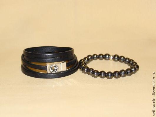 Браслеты ручной работы. Ярмарка Мастеров - ручная работа. Купить Кожаный браслет из кожи черной шнур 5мм, гематит. Handmade.