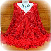 Аксессуары handmade. Livemaster - original item Shawl Kalinushka 200x170x170 crocheted (R-R excluding tassels). Handmade.
