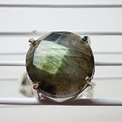 Украшения ручной работы. Ярмарка Мастеров - ручная работа Посеребренное кольцо с лабрадором круглое 2. Handmade.