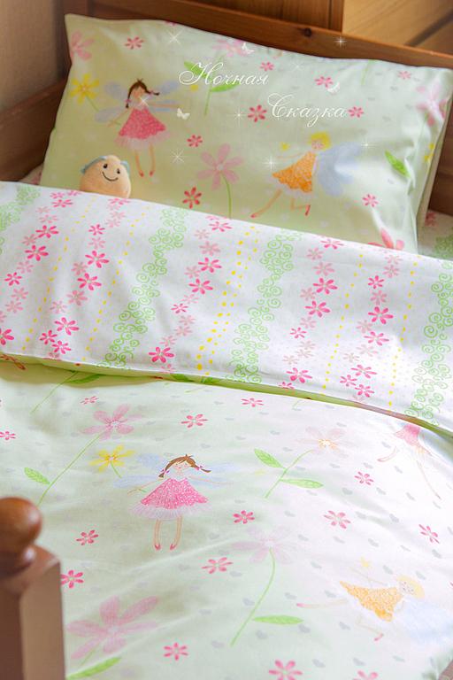 """Детская ручной работы. Ярмарка Мастеров - ручная работа. Купить Комплект в кроватку детское постельное белье """"Феи"""". Handmade. Салатовый"""