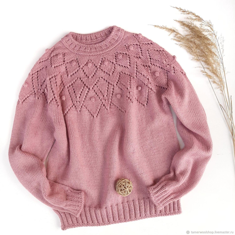 Розовый свитер с ажурными ромбами, вязаный женский розовый свитер, Свитеры, Москва,  Фото №1