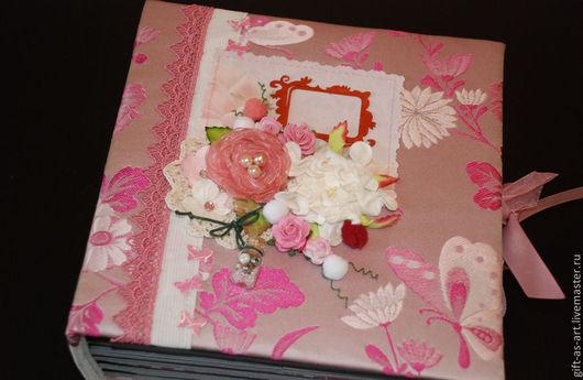 Фотоальбомы ручной работы. Ярмарка Мастеров - ручная работа. Купить Фотоальбом. Handmade. Розовый, семейный фотоальбом, американский стиль, ткань