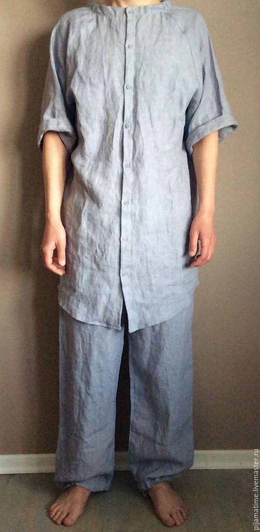 Для мужчин, ручной работы. Ярмарка Мастеров - ручная работа. Купить Мужской костюм для дома из светло-серого льна. Handmade.