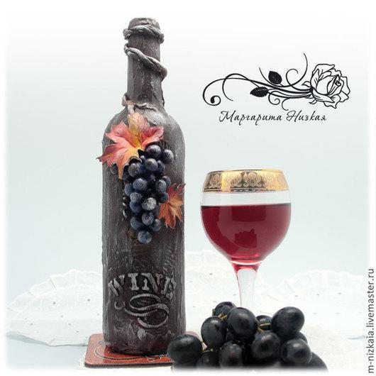 """Декор бутылки вина """"Сочный виноград"""". Подарок ручной работы. Маргарита Низкая"""