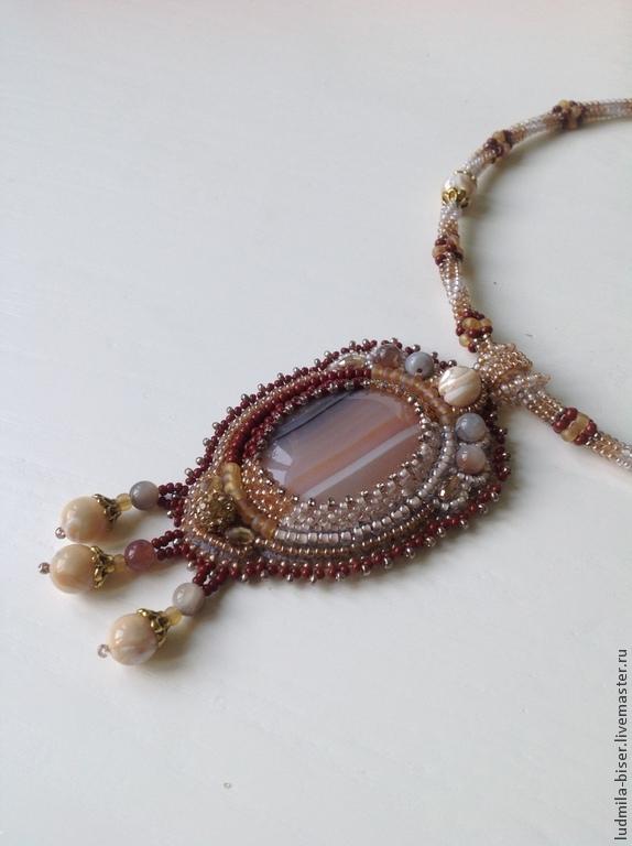 Pendants handmade. Livemaster - handmade. Buy Pendant 'Quicksand'.Pendant, decoration, agate beads