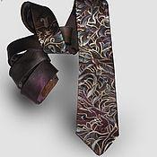 """Аксессуары ручной работы. Ярмарка Мастеров - ручная работа """"Кофе с коньяком"""" мужской шелковый галстук с авторской ручной росписью. Handmade."""