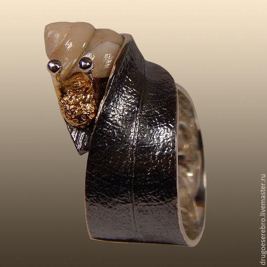 Кольца ручной работы. кольцо из серебра Не спеша, серебро 925 пробы, авторское украшение, кольцо с ракушкой, серебро 925, серебряное кольцо, из серебра / кольцо серебро
