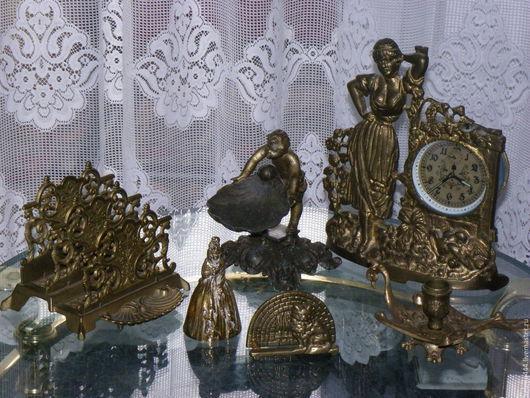 Винтажные сувениры. Ярмарка Мастеров - ручная работа. Купить Коллекция немецкой бронзы Мальчик Часы Бюро Подсвечник Колокольчик. Handmade.