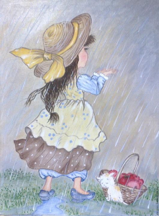 Фантазийные сюжеты ручной работы. Ярмарка Мастеров - ручная работа. Купить Картина маслом - Летгий дождь. Handmade. Комбинированный, акрил