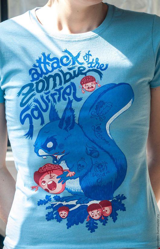"""Футболки, майки ручной работы. Ярмарка Мастеров - ручная работа. Купить Смешная футболка ручной росписи """"Зомби белка"""". Handmade."""