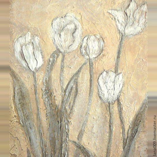 """Комплекты аксессуаров ручной работы. Ярмарка Мастеров - ручная работа. Купить Картина """"Тюльпаны"""". Handmade. Бежевый, картина для интерьера, тюльпаны"""