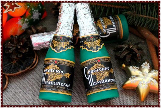 """Мыло ручной работы. Ярмарка Мастеров - ручная работа. Купить Мыло """"Бутылка шампанского"""". Handmade. Петух, символ нового года"""