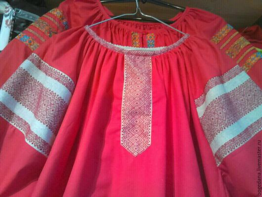 Одежда ручной работы. Ярмарка Мастеров - ручная работа. Купить Рубаха женская русская традиционная. Handmade. Ярко-красный
