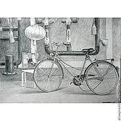 Картины и панно ручной работы. Ярмарка Мастеров - ручная работа Картина карандашом Велосипед и трубы. Handmade.