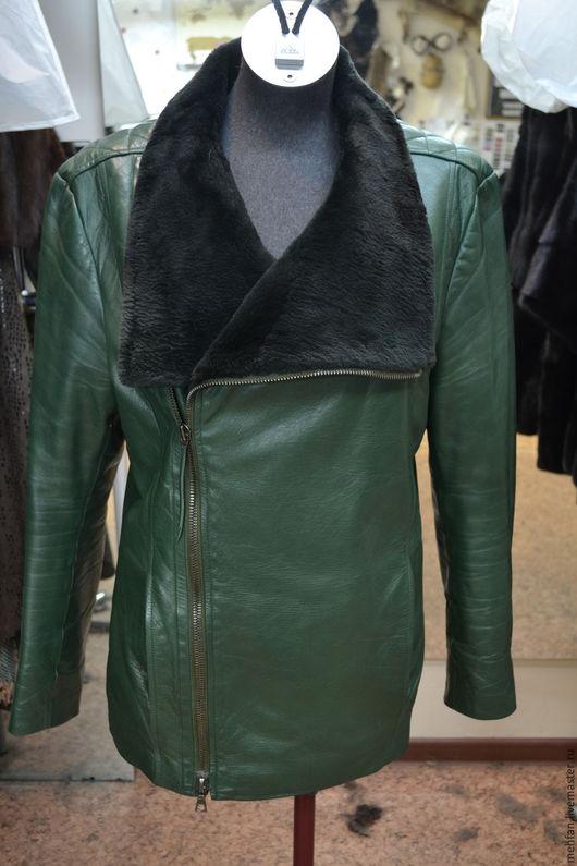 куртка мужская из кожи , воротник из меха
