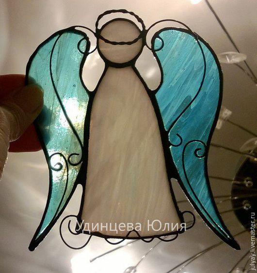 Подвески ручной работы. Ярмарка Мастеров - ручная работа. Купить Витражный ангел.. Handmade. Голубой, ангел, Витраж, нежный, крылья
