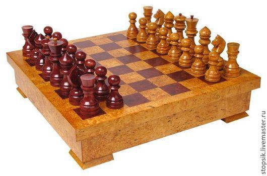 Новый год 2017 ручной работы. Ярмарка Мастеров - ручная работа. Купить Шахматы Ларец (средний, карельская берёза) ( 6088). Handmade.