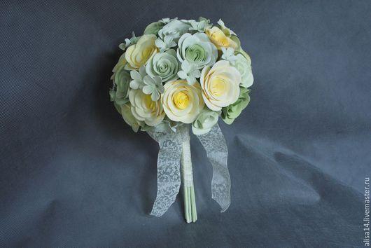 Цветы ручной работы. Ярмарка Мастеров - ручная работа. Купить Свадебный букет с английскими розами. Handmade. Разноцветный, нежный