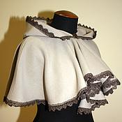 Одежда ручной работы. Ярмарка Мастеров - ручная работа Бежевая пелерина с капюшоном. Handmade.