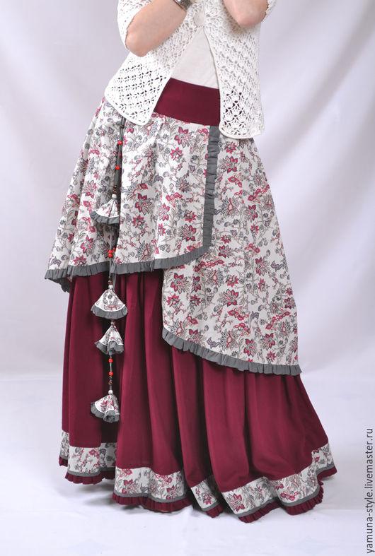 Юбки ручной работы. Ярмарка Мастеров - ручная работа. Купить Романтичная юбка в бохо стиле. Handmade. Бордовый, юбка длинная