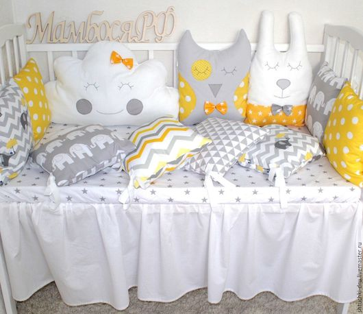 Детская ручной работы. Ярмарка Мастеров - ручная работа. Купить Бортики подушки в кроватку. Handmade. Бортики в кроватку, бортики на кроватку