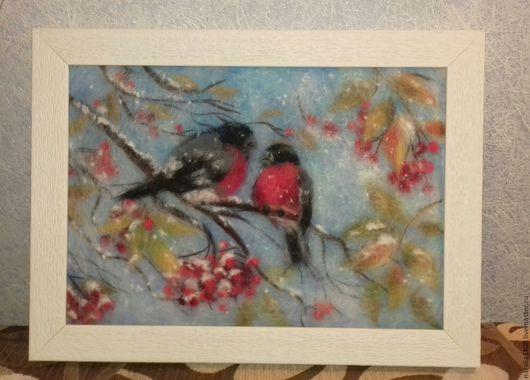 """Пейзаж ручной работы. Ярмарка Мастеров - ручная работа. Купить Картина из шерсти """"Снегири"""". Handmade. Белый, снегири, картина в подарок"""
