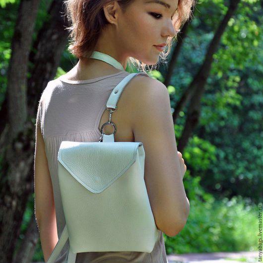 Рюкзаки ручной работы. Ярмарка Мастеров - ручная работа. Купить Белый кожаный рюкзак ручной работы маленький. Handmade. Белый