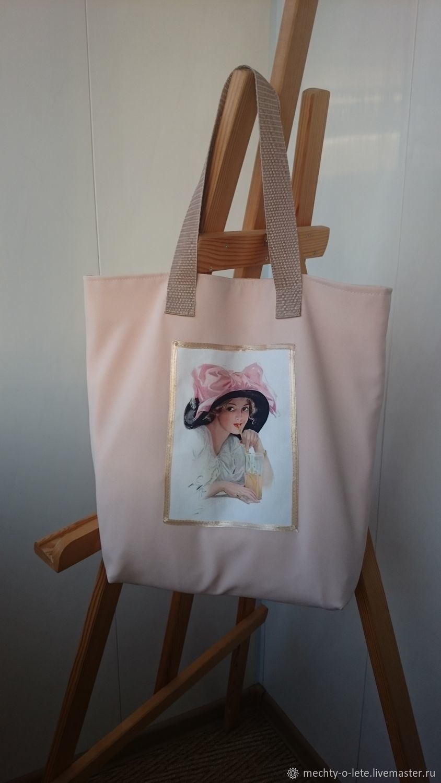 Beige Fabric Shopper Bag Bag with Applique tote bag with Lady, Shopper, Mytishchi,  Фото №1