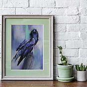 handmade. Livemaster - original item Pastel painting of a Raven (dark blue purple bird). Handmade.