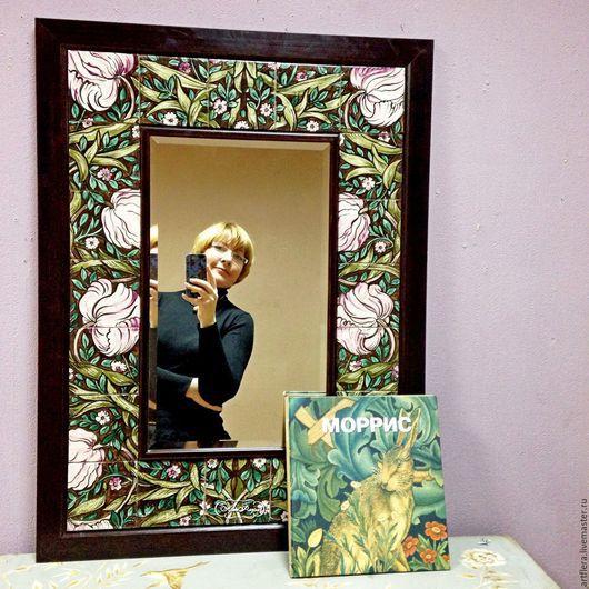 Зеркала ручной работы. Ярмарка Мастеров - ручная работа. Купить Зеркало Моррис орнамент Роспись керамики. Handmade. Зеркало