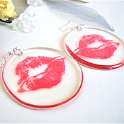 Украшения handmade. Livemaster - original item Transparent Kiss Earrings Red Lips Kiss Me Epoxy Resin. Handmade.