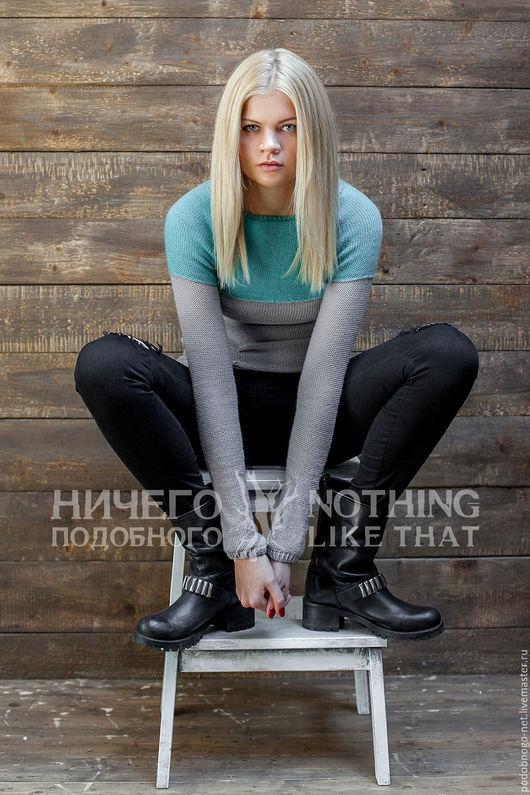 Кофты и свитера ручной работы. Ярмарка Мастеров - ручная работа. Купить свитер серый с бирюзой. Handmade. Разноцветный, дизайнерская одежда