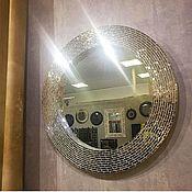 Для дома и интерьера handmade. Livemaster - original item Mirror in mosaic frame, silver glitter. Handmade.
